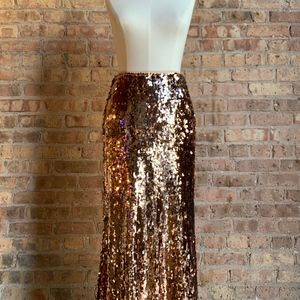 New Free People Rose Gold Sequin Maxi Skirt